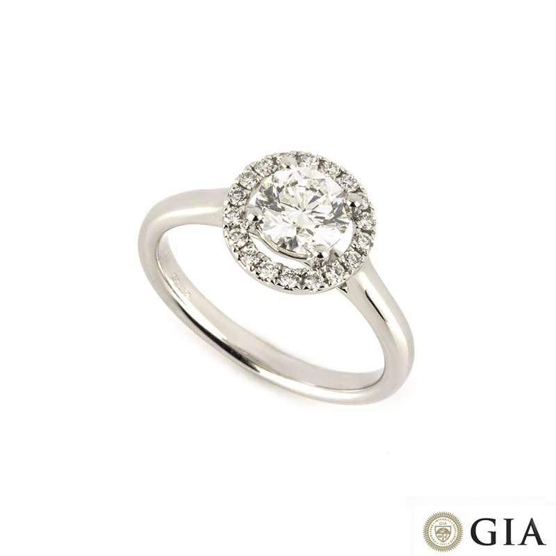 18k White Gold Round Brilliant Cut Diamond Ring 0.90ct H/VS2
